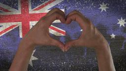 Hands Heart Symbol Australian Flag Live Action