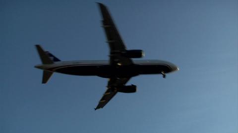Airplane Landing Sunset Footage