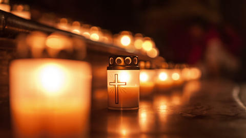 Night of Churches, shrine with burning candles Footage