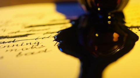 Ink Spilled To Manuscript Footage