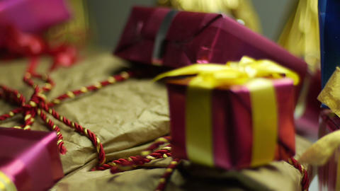 Gift boxes smooth horizontal tracking Footage