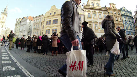 Crowd of Tourists in Prague Slow Mo Footage