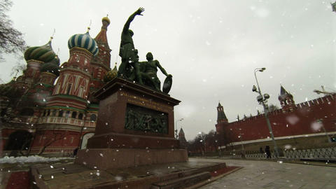 Monument to Minin and Pozharsky Red Square Moscow Footage