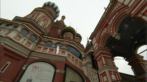 Saint Basils Cathedral Kremlin Moscow at Snowfall Footage