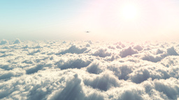 Passenger Aircraft Above The Clouds 4 stock footage