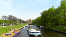 River passenger boat on the canal time lapse Footage