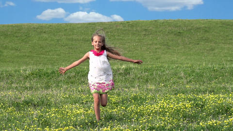 Girl Runs Across the Field Footage