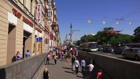 Nevsky prospect. Saint-Petersburg. People go along Footage