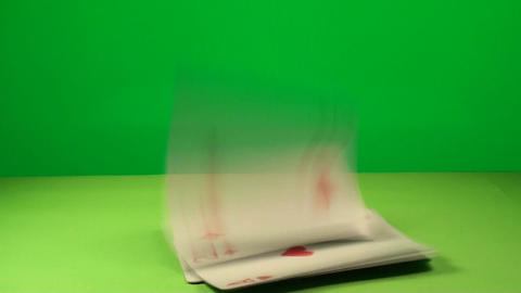 Game Cards Falling On A Green Screen, Chroma, Key, Footage