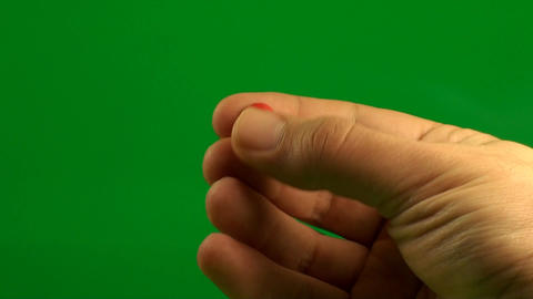 Man Hand Holding Pills On A Green Screen, Chroma,  Footage