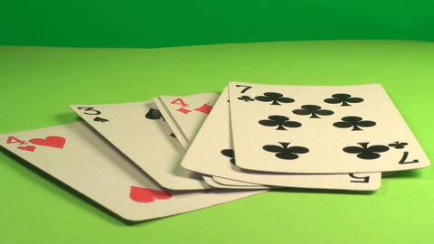 Game Cards Rotating On A Green Screen, Chroma, Key Footage