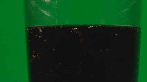 Glass Full With Soda On A Green Screen, Chroma ,Ke Footage
