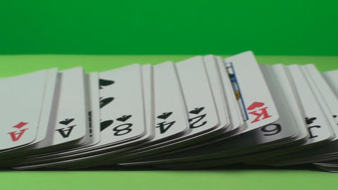Deck Of Playing Cards On A Green Screen, Chroma, G stock footage