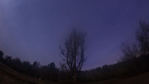 Star hides fog. Time Lapse. 1280x720 Footage