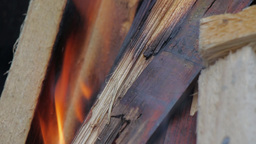 Fire, Natural Wood Planks And Logs Burning 01 stock footage