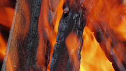 Fire, Natural Wood Planks And Logs Burning 03 stock footage