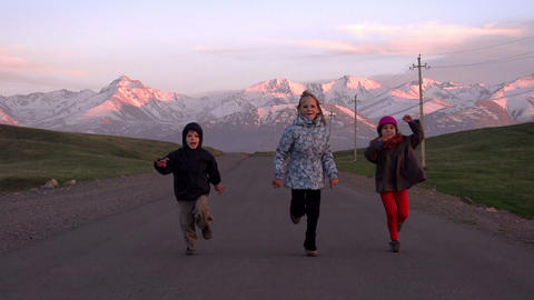 Children Running on the Road Footage