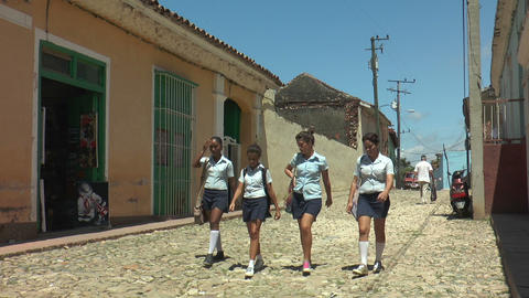cuban teenage pupils in school uniform Footage