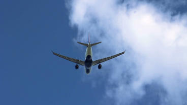 aircraft plain flying away blue sky Footage