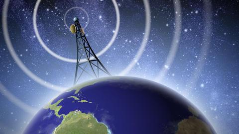 Antenna Broadcasting Signal Animation