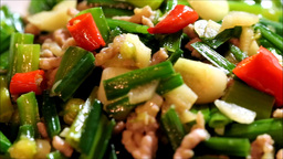 A dish called chive bud fried ground pork Live Action