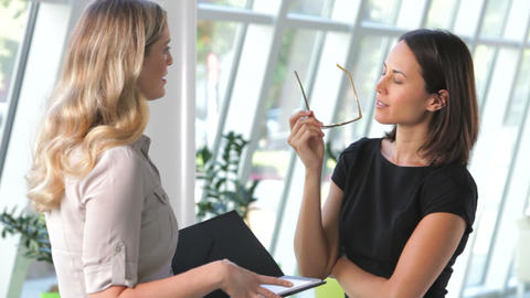 Two Businesswomen Discussing Document In Office Live Action