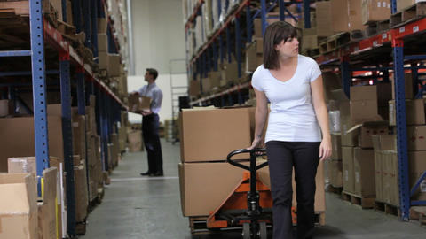Female Worker Pulling Pallet In Warehouse Footage