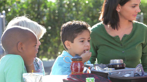Children Eating Packed Lunch Outdoors With Teacher Stock Video Footage