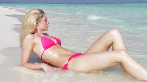 Woman In Bikini Relaxing On Beautiful Tropical Bea Footage