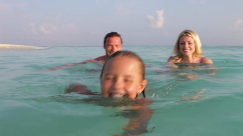 Family Relaxing In Tropical Sea Footage