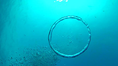 Patterns Of Air Bubbles Made By Diver stock footage