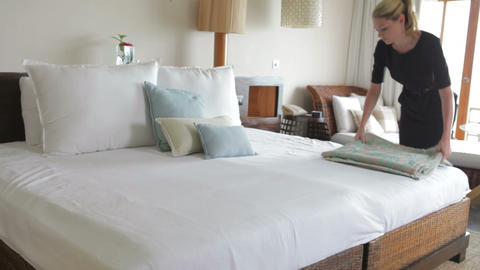 Hotel Chambermaid Making Guest Bed Footage