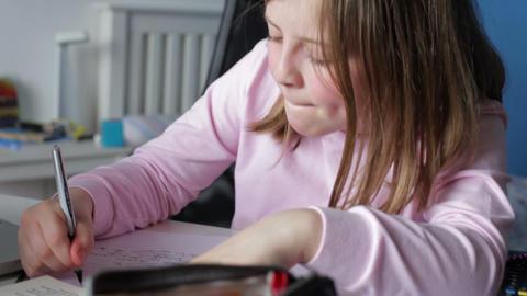 Girl Doing Written Homework In Bedroom Footage