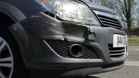 Close Up Of Vehicle Damaged In Traffic Accident Live Action