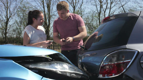 Two Drivers Exchange Insurance Details After Accid stock footage