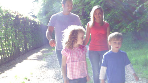 Family Walking In Summer Countryside Footage