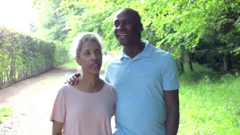 Mature African American Couple Walking In Countrys stock footage