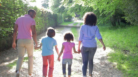 African American Family Walking In Countryside Footage