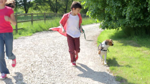 Children Running Along Country Path With Dog Footage