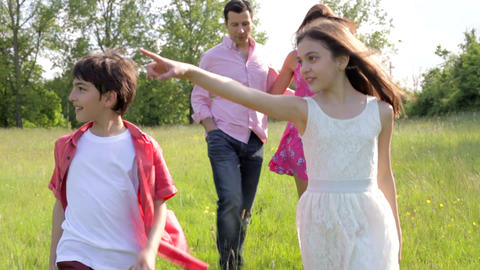 Hispanic Family Walking In Countryside Footage