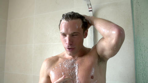 Slow Motion Sequence Of Man Taking Shower Footage