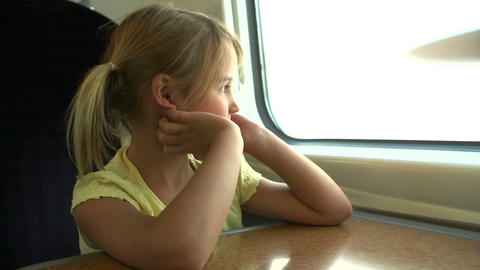 Girl Relaxing On Train Journey stock footage