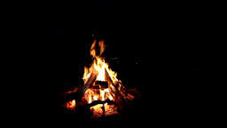 Bonfire, fire, macro shot. in the night Footage