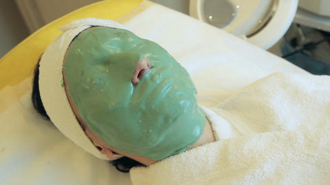 Patient takes facials - rejuvenating mask Footage