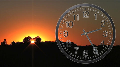 Clock With Sunset Time Lapse 03 Stock Video Footage