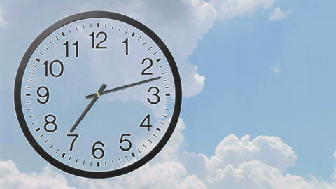 Clock With Clouds Time Lapse 02 Animation