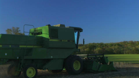Combine Harvesting Soybeans 04 Footage