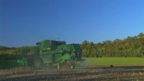 Combine Harvesting Soybeans 04 Stock Video Footage