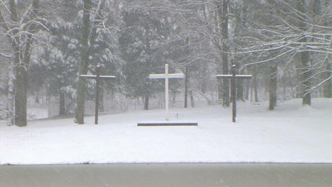 Crosses in Snow Zoom Out Footage