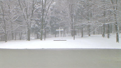 Crosses in Snow Zoom Out Stock Video Footage